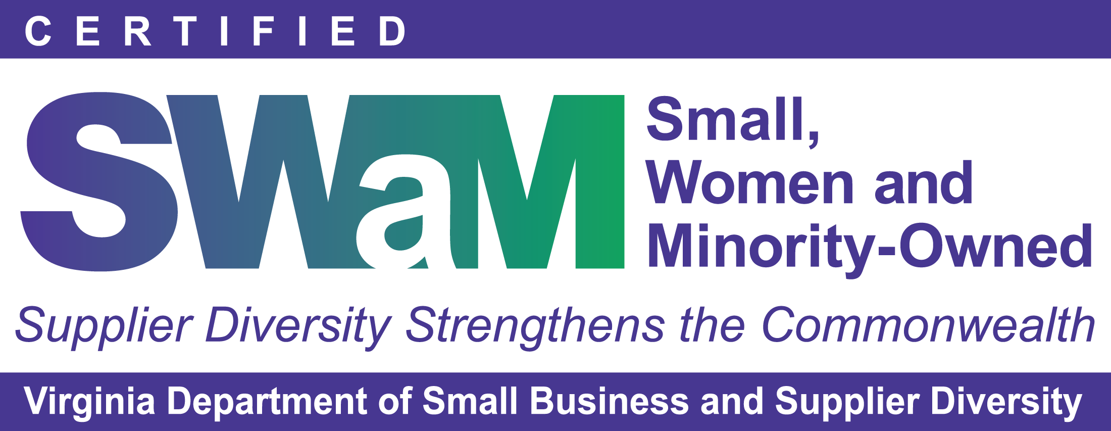 Small Women and Minority Owned Certification. Virginia Department of Small Business and Supplier Diversity. Supplier Diversity Strengthens the Commonwealth