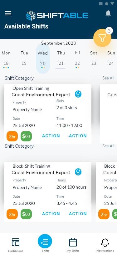 Shiftable Mobile Available Shift Screen